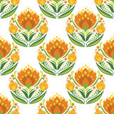 Traditional east european ornament. Floral vector seamless pattern. Orange flowers on white background Stock Photo