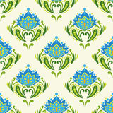 Traditional east european pattern. Blue flowers on light background Stock Photo