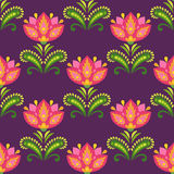 Traditional east european pattern. Colorful flowers and leaves on dark background Royalty Free Stock Photography