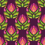 Traditional east european pattern. Purple flowers on dark background Stock Photos