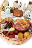 Traditional easter basket on easter table Royalty Free Stock Image