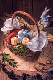 Traditional Easter basket with food Stock Photography