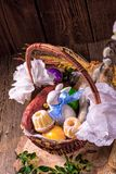 Traditional Easter basket with food Royalty Free Stock Photo