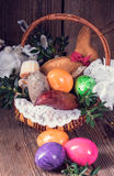 Traditional Easter basket with food Royalty Free Stock Photography