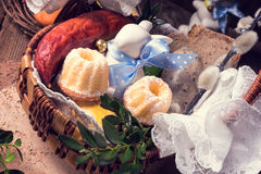 Traditional Easter basket with food Royalty Free Stock Images