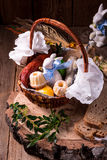 Traditional Easter basket with food Royalty Free Stock Image