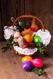 Traditional Easter basket with food Stock Image