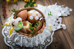 Traditional Easter basket with food Royalty Free Stock Photos