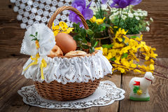 Traditional Easter basket with food Stock Images