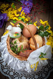 Traditional Easter basket with food. Royalty Free Stock Photography