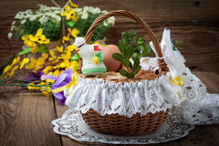 Traditional Easter basket with food. Royalty Free Stock Images
