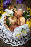 Traditional Easter basket with food. Stock Photos