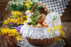 Traditional Easter basket with food. Stock Photo