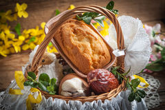 Traditional Easter basket with food. Traditional Easter basket with food on the wooden table royalty free stock photography