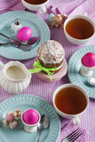 Traditional Easter breakfast with cake and eggs Royalty Free Stock Photos