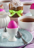 Traditional Easter breakfast with Easter cake and eggs Stock Photos