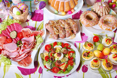 Traditional easter breakfast on festive table Royalty Free Stock Photography