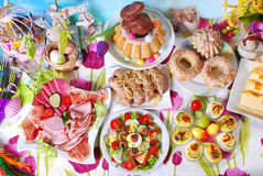 Traditional easter breakfast on festive table Stock Photography