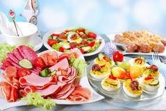 Traditional easter breakfast Stock Photos