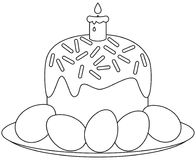 Traditional easter cake candle eggs on plate icon Royalty Free Stock Image