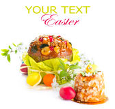 Traditional Easter cake and colorful painted eggs Stock Images