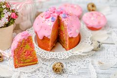 Traditional Easter cake and cupcakes Royalty Free Stock Image