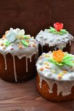 Traditional easter cake kulich Russian culture  on wooden background. Traditional easter cake kulich Russian culture  on wooden table stock photography