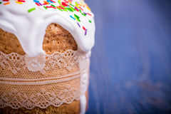 Traditional easter cake kulich Ukrainian Russian on wooden background Stock Photos