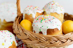 Traditional easter cake kulich Ukrainian style with colored eggs on painted towel Royalty Free Stock Photography