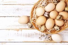 Traditional easter card template with pastel colors painted organic eggs in wicker basket with hay and decorative wildflowers. Royalty Free Stock Photography