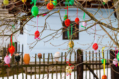 Traditional Easter decoration. Easter eggs on a tree in front of wooden cottage. Slovakia Royalty Free Stock Images
