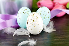 Traditional easter egg decoration with tulips and ribbo Royalty Free Stock Photo
