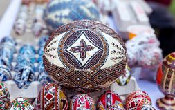Traditional easter egg, hand painted. Huge ostrich egg easter egg, hand painted with traditional motifs royalty free stock images