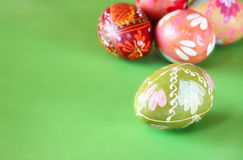 Traditional easter eggs on green background Royalty Free Stock Images