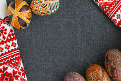 Traditional Easter eggs with ornament. On Easter, authentic embroidered towel, handmade Stock Photography