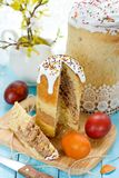 Traditional Easter food composition easter bread kulich and onio. N husks painted eggs Stock Image