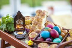 Traditional Easter holiday Christian Orthodox Church gift display. Traditional eastern european christian Orthodox display for the holly celebration of easter royalty free stock photo