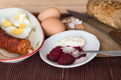 Traditional easter meal in east Europe, view from above Royalty Free Stock Image