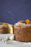 Traditional Easter panettone. With cinnamon sticks, dried apricots, eggs and pussy-willow Stock Photo