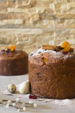 Traditional Easter panettone. With cinnamon sticks, dried apricots, eggs and pussy-willow Royalty Free Stock Photos