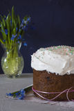 Traditional Easter panettone. With flowers and icing Stock Photo