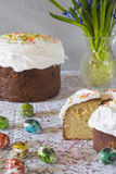 Traditional Easter panettone. With flowers, icing and eggs Royalty Free Stock Image
