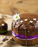 Traditional Easter panettone or russian kulich with chocolate. Traditional Easter panettone or russian kulich with chocolate, flower and sugar butterfly Royalty Free Stock Images