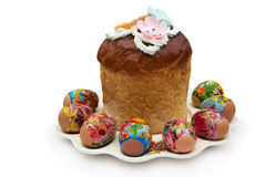Traditional Easter Pie and decoration eggs on a plate Stock Images