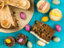 Traditional Easter Sunday Afternoon Tea and Cakes Royalty Free Stock Image