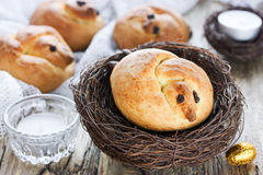 Traditional Easter sweet bread in the shape of larks Royalty Free Stock Photo