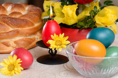 Traditional easter table settings Stock Photography