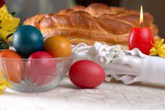 Traditional easter table settings Stock Images