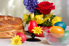 Traditional easter table settings Stock Photo