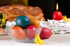 Traditional easter table settings Stock Photos